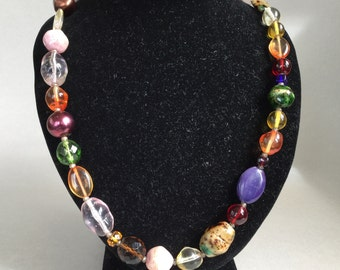 Joan Rivers Stone and Glass Bead Necklace
