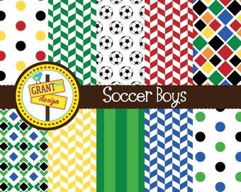 Soccer Digital Papers - Soccer Digital Paper Pack- Scrapbooking, Backgrounds, Invitations, Card Design