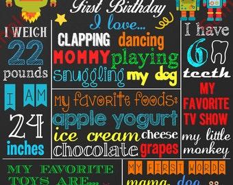 First Birthday Chalkboard Sign - Robot Birthday Chalkboard Poster - Custom Birthday Sign - Digital File