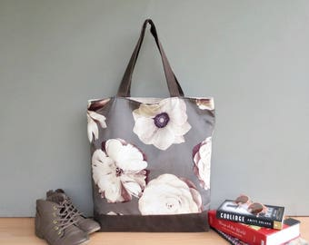 Oversized Floral Tote, Grey Cream and Sepia Shoulder Tote Bag with Large Flowers, Extra Large Waxed Canvas Bottom Tote, Womens Market Bag,