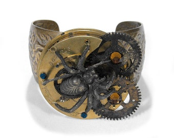 Steampunk Jewelry, MENS Cuff Pocket Watch SPiDER GEARS Topaz Crystals Brass Industrial Biker, Apocalyptic BURNING Man- Jewelry by edmdesigns