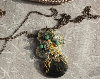 Spring necklace, ElenZima, Free shipping, Polymer clay, natural stone, rhinestones, handpainted