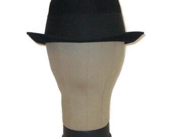 50s Pork Pie Hat Black Pork Pie  Dress Hat Black Dress Hat 1950s Black Felt Hat Black Ribbon Felt Pork Pie Morgan Special Vintage Pork Pie