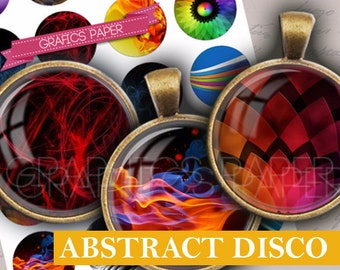 """Abstract art images Colour  Digital collage sheet - td267 - 1.5"""", 1.25"""", 30mm, 1 inch circles Printable Images Bottle caps Instant Download"""