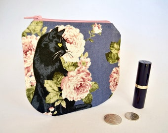 Cat coin purse, black cat, roses small change pouch