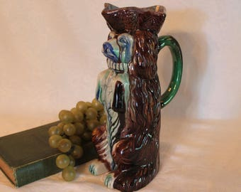 "Staffordshire Style Begging Spaniel Dog 9.5"" Pitcher with Majolica Glaze in Excellent Condition"