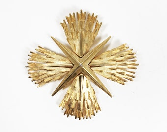 Crown Trifari Maltese Cross Pin Vintage 1960s 1970s Mid Century Designer Signed Gold Tone Brooch Religious Theme Jewelry