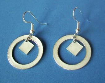 White  Enamel  Sterling Silver Hoop with White Enameled Square Accent- Dangle earrings