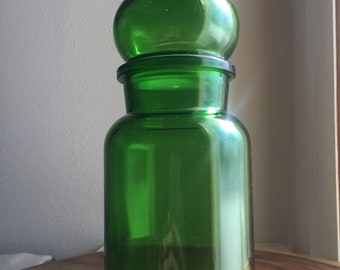 Vintage bubble top green glass jar