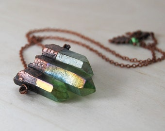 Green Forest Aura Crystal Trio Necklace | Green Crystal Necklace | Copper Electroformed Pendant | Nature Jewelry | Crystal Quartz Necklace