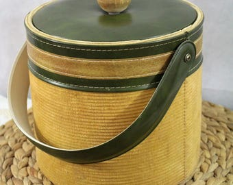 VINTAGE Georges Briard Ice Bucket ~ Green Faux Leather and Tan Corduroy with Wood Knob ~ Retro, Mid-Century, Rare, Insulated, w/ Lid, Handle