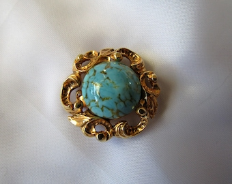 Vintage Brooch (also can be worn as pendant) - Gilt Metal With Blue Turqoise Stone