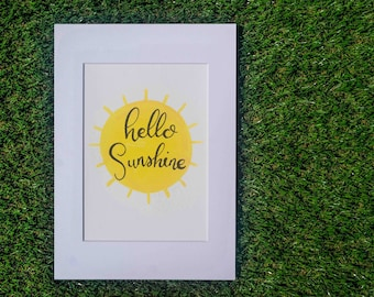Hello Sunshine - Original Artwork - Nursery Art - Watercolour - Calligraphy - Kids Room Decor