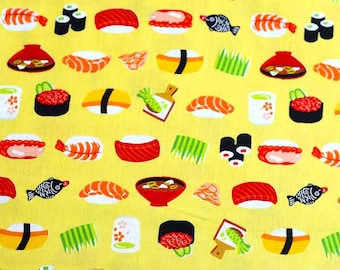 Japanese Fabric Cosmo sushi food - yellow - 50cm