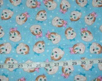 Chipmunk Boy Girl Flannel Fabric - 1 1/2 yards