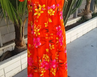 ViNtAgE 1960's Hawaiian A-line maxi dress  Size M ( label says 12)
