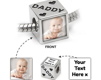 Photo Charm UK | Personalised in 925 Silver | Daddy Message | Pandora Bead Compatible - Personalised Jewellery memorial charm