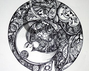 Moon Motif 12x12 Print