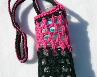 Pink & Black Crochet Water Bottle Carrier