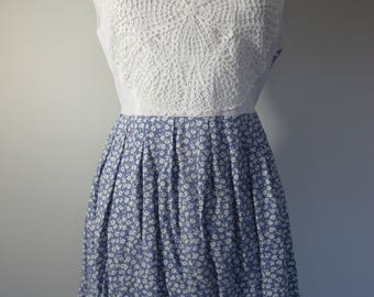 Vintage Floral Hand Worked Doiley Festival Mini Dress