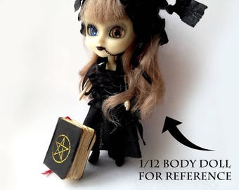 book of shadows, miniature book, witchy bjd, wiccan miniatures, 1:12 spell book, witchy dolls house, tiny grimoire, for miniature altar kit