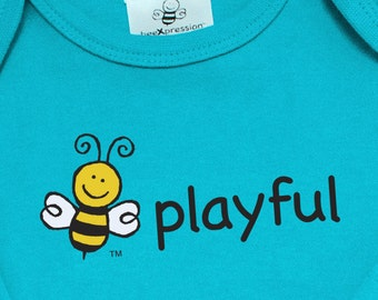 Gender Neutral Baby | Organic Cotton Short Sleeve Bodysuit | Screened BEE PLAYFUL | BEE Image On Back | 5 Colors | 3-6 M | 6-12 M | 12-18 M