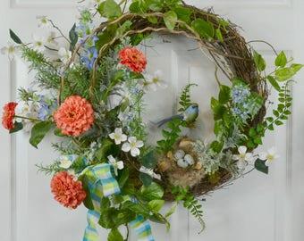 Spring Wreath - Spring Door Wreaths - Front Door Wreaths - Outdoor Wreaths - Spring Decor - Spring Home Decor - Spring Decorations