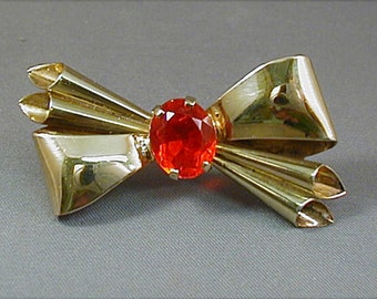 Art Deco Gold Filled Bow Brooch Pin