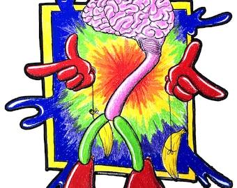 Crazy Brain Sticker, laptop sticker, brain stickers, adventure stickers, art stickers, crazy stickers, funny stickers, computer sticker