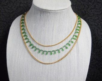 Green and gold triple chain necklace