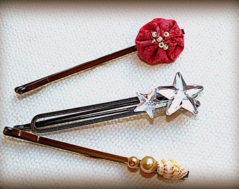 Bejeweled Bobbie Set Hair Pins Prom Wedding Made From Antique & Vintage Jewelry by Make Mine Pretty