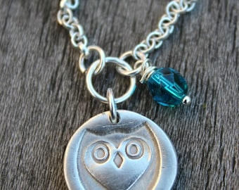 Barn owl pendant, barn owl necklace, barn owl jewelry, woodland jewelry, graduation gift, woodland necklace, owl designs, silver owl studio