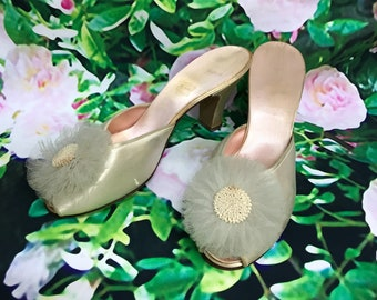 60s Daniel Green Satin Cream Boudoir Shoes Tulle Rosette SZ 6