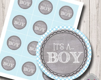 INSTANT DOWNLOAD - It's a BOY...Printable Tags- HT013 - cupcake toppers, gift tags, baby shower