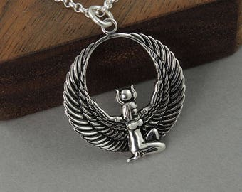 Egyptian Goddess Necklace - Isis necklace, sterling silver Egyptian jewelry for women, winged Goddess, fertility, amulet