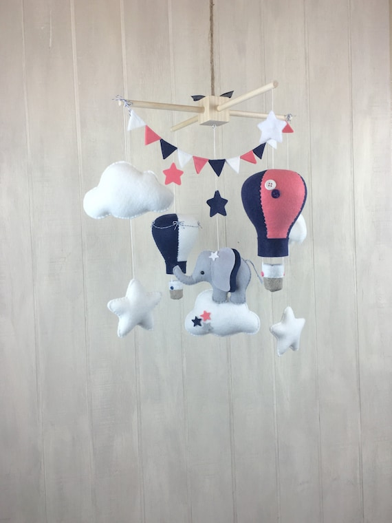Baby Mobile Elephant Mobile Crib Mobile Hot Air Balloon