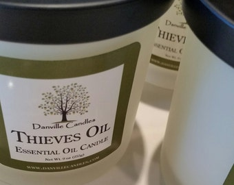 Thieves Oil Aromatherapy Soy Candle Jar Home Decor