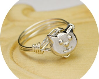 Cat Ring- Sterling Silver Filled Wire Wrap Ring with Silver Plated Pewter Cat Bead - Any  Size 4, 5, 6, 7, 8, 9, 10, 11, 12, 13, 14