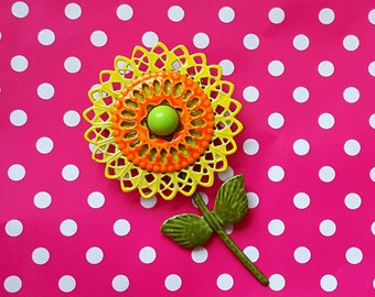 Mod Enamel Sunflower Brooch Flower Pin Flower Brooch Vintage Jewelry Filigree Petals Floral Yellow, Orange, and Green