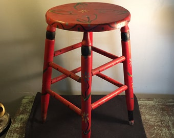 Painted Wooden Stool - Antique Oak Stool - Bohemian Style Hand Painted Red Stool - Shabby Chic Four Leg Stool