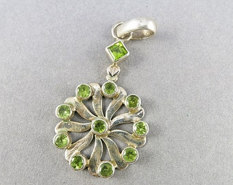 Vintage Sterling Pendant With Green Peridot Stone Sterling Jewelry Statement Pendant Vintage Jewellery