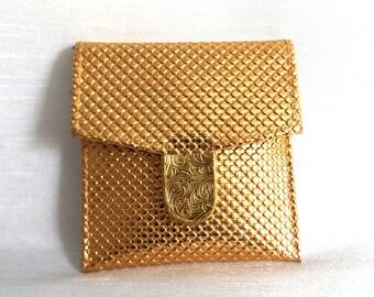 Small Gold Change Purse w Stripe Interior - Vintage Square Gold Coin Purse  - Snap Closure - Gold Metallic Fabric Pouch - Little Case