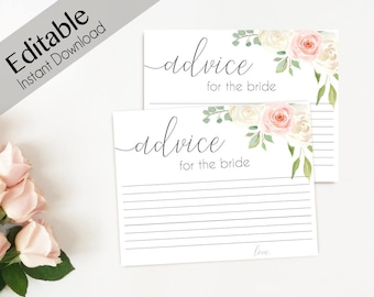 Advice Card Printable, Bridal Shower Advice Card, Advice for the bride and groom, Instant Download, Romantic Blush Pink white flower