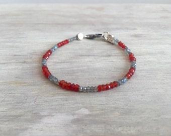 Karneol und minimale Labradorit Armband, Herren Armband, Herren Schmuck, minimalistischen Armband