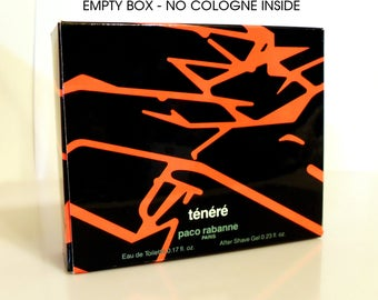 Vintage Cologne 1980s Tenere by Paco Rabanne 0.17 oz Eau de Toilette 0.23 oz After Shave Gel Mini Set Empty Box No Bottle