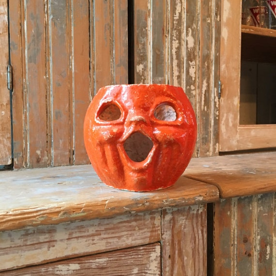 Antique Paper Mache Pumpkin, 1930s Halloween Decor, Vintage Paper Mache Pumpkin Candy Holder, Jack O Lantern