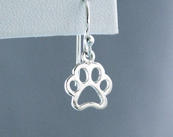 READY TO SHIP - Little Open Paw Earrings - Sterling Silver - Dog Lover Gift - Canine Agility Gift - Dog Paw Earrings