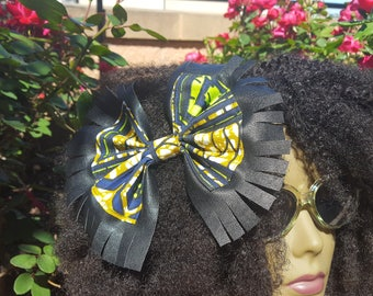 Womens hair bows, Leather and fabric hair bows, Hair accessories, Hairbow, Hair clips women, Hair bows for women, African bows, Leather bows