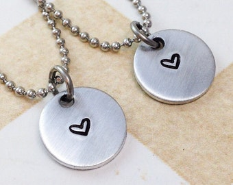 Minimalist Necklace - Tiny Charm Necklace - Sisters Necklaces - Best Friends Necklaces - Mother Daughter Necklaces- Pewter Necklace
