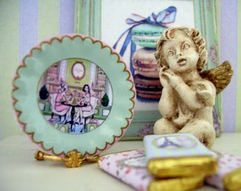 French Macarons Miniature Plate for Dollhouse 1:12 scale